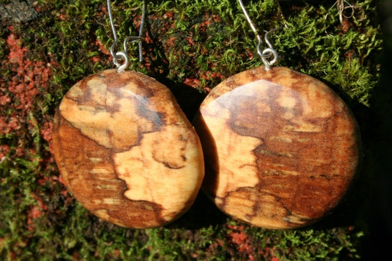 Earrings in Rare Incredible Wood   Boho Natural  Wood 1 1/2  in.  tall.Jewelry  09