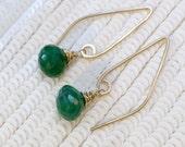 Emerald Long Dangle Earrings, Wire Wrap Gem, Gold Fill Elongated Earrings Simple Everyday Earrings, Bohemian Jewelry May Birthstone