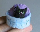 Black cat miniature felt plush with stiffened felt basket and pillow play set