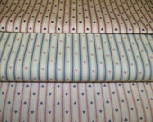 Pillow ticking Strip with hearts 3.33 yard, Fabric 1 to 3 yard pieces Vintage french country fabric