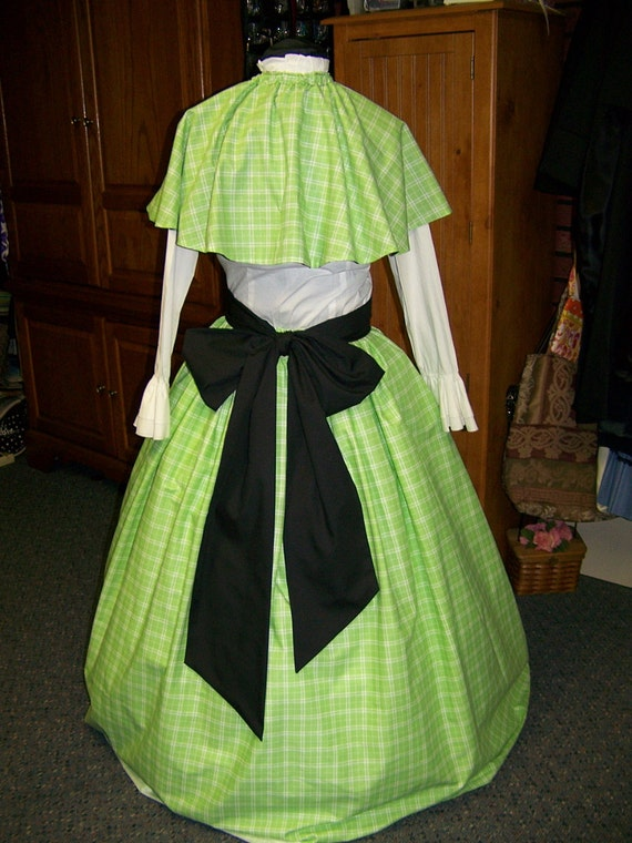 Civil War Dress Long SKIRT with Cape and Black Sash one size fit all Green and White Plaid cotton Handmade