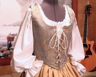 Renaissance Wench or Maiden Reversible Bodice and Skirt, Gown or Dress, Custom sized for You
