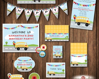 Wheels on the Bus Birthday invitation, invite, thank you, favor tags, Printable Party Items