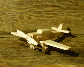 Handmade Wood Toy Fighter Plane P-40 World War 2 Airplane Wooden Toys Kids Childs Boys Birthday Present Gift Woodworking WW1
