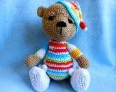 Crochet Teddy Bear with Bunny Slippers, Stuffed Animal, Bedtime, Stuffed Bear, Sleepy Bear, Striped Pajamas