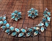 Spectacular 1950's Kramer Givre Molded Glass Leaf Demi Parure - HTF Color & Design