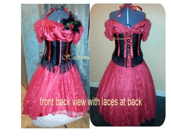 Masquerade gown dress saloon western Red 6 pc costume 20 plus  X plus Victorian headband carnival feathers