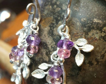 Wisteria Earrings - Sterling Silver and Natural Faceted Purple Amethyst and Pink Tourmaline- Handmade and Ready to Ship