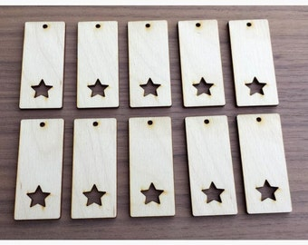 """100 Pieces- Rectangle Pendant with Star Cut Out 2.25"""" x 1""""  Unfinished Wood Laser Cut Pendant Blanks"""