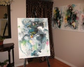 grey green  30x24 huge Abstract painting stretched canvas Art  blue green grey abstract landscape painting by sj.kim