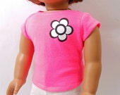 Pink Top for American Girl Dolls or 18 inch Dolls, Bright Pink, Short Sleeve Top, ONLY ONE!