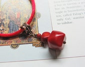Coral Necklace, handmade.  Red, Crimson, Copper, Cord.  Maiden of the Holly