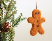 Gingerbread Man Ornament, Christmas Tree Decoration, Needle Felted Wool Ornament, Fairytale Food