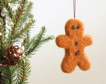 Gingerbread Man Ornament, Christmas Tree Decoration, Needle Felted Wool Ornament, Fairytale Food