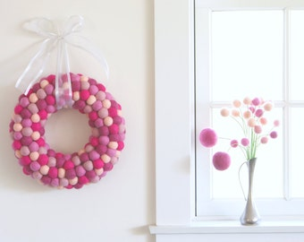 Felt Bouquet, Home Decor, Supplies, Gifts, Floral Arrangement, Pretty Shades of Pink Bright Spring Flowers