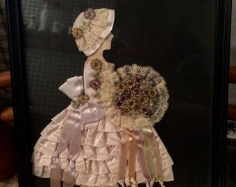 vintage pictures framed art Girl with ruffled dress picture wall hanging paper doll