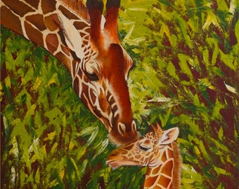 Archival Giclée Open edition print on 100% cotton rag of a Giraffe and calf by Nkolika Anyabolu. Signed and dated by artist.