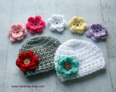 Crochet Baby Hat, Infant Crochet Hat, Set of 2 hats, 7 Interchangeable Flowers, Hat with Flowers, Baby Girl Hat, Custom MADE TO ORDER