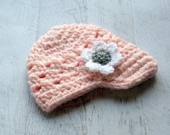 Crochet Baby Hat, Baby Girl Hat, Baby Girl Visor Hat,  Winter Hat, Summer Hat, Crochet, Pastel Pink, White and Gray,  READY TO SHIP, Newborn