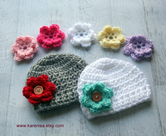 Interchangeable Crochet Flower Pattern : Crochet Baby Hat Infant Crochet Hat Baby Girl Hat 7