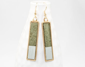 Wooden Dangle Earrings Dipped in Color (Sage Green Veneer & Pale Blue Paint / Brass Rectangle Setting)