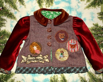 goldilocks fairytale jacket with crimson velvet sleeves