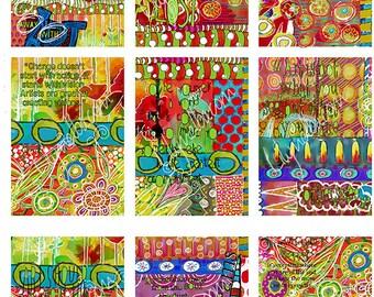 Handrawn A.T.C art journal sheet ... scrapbook/journal art