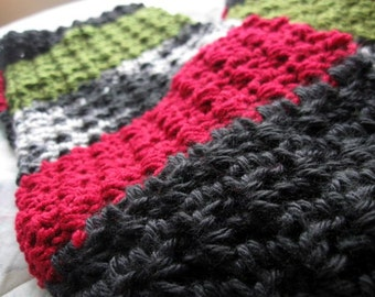 Scrap Art Scarf, Multicolor Crochet  Fashion Blocks