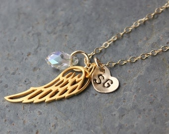 Angel wing, monogram heart & crystal teardrop necklace - 22k gold plated wing charm, hand stamped initials, birthstone Swarovski crystal