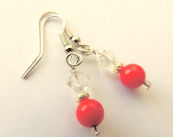 Red Coral and Crystal Earrings, Native Style, Handcrafted Jewelry, Red and Silver, Dangle Earrings