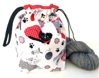 Sock Knitting Project Bag Hexipuff Small Crochet WIP Bag - Cozy Cats (white)