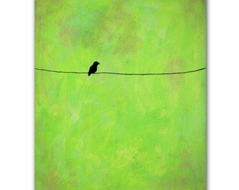 Bird on a Wire - The Original Painting on Canvas - Contemporary Style - Lime Green Edition - Modern Art - Nicole Dietz, The Artist