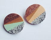 Wooden brooch - copper glitter - 2 colours available