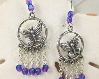 Butterfly Chandelier earrings with pink blue czech glass beads holiday earrings czech blue purple beads silver plated charm butterfly