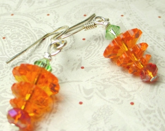 Carrot earrings to wear for Easter and more! Swarovski crystal earrings like a carrot
