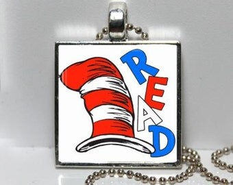 Dr Seuss Cat in The Hat READ Altered Art GLASS Pendant Charm Necklace