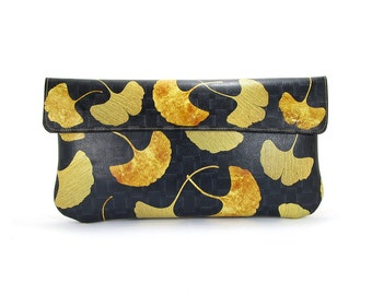Leather Clutch Bag, Leather purse, Wedding clutch, Bridesmaid clutch, Evening Bag - Golden Ginkgo leaf (Exclusive range)