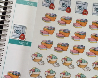 Laundry Stickers, Baskets, Washing Machine, Chores, Cleaning Stickers, Plum Paper, Fits Erin Condren Life Planner