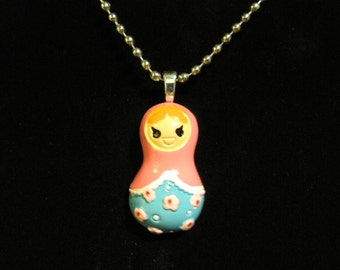 Pink Russian Nesting Doll Necklace