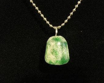 Green Glitter Frosted Gum Drop Necklace