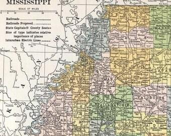 1919 Large Vintage Map of Mississippi - Antique Mississippi Map