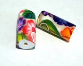 ON SALE NOW Handmade Flowered Tube Beads in Multi Colors (sold in pairs)
