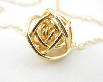 "READY TO SHIP Gold Love Knot Necklace- 14k Gold Fill on an 18"" Gold Fill Chain"