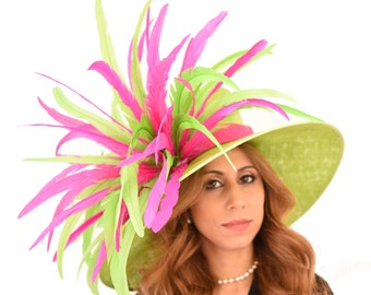 Green Woodpecker Hat for Kentucky Derby, Weddings (40 colours available)