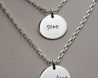 Mothers Necklace - Personalized Jewelry - Gifts for Her - Sterling Impressions Two Disc Layered Mothers Necklace