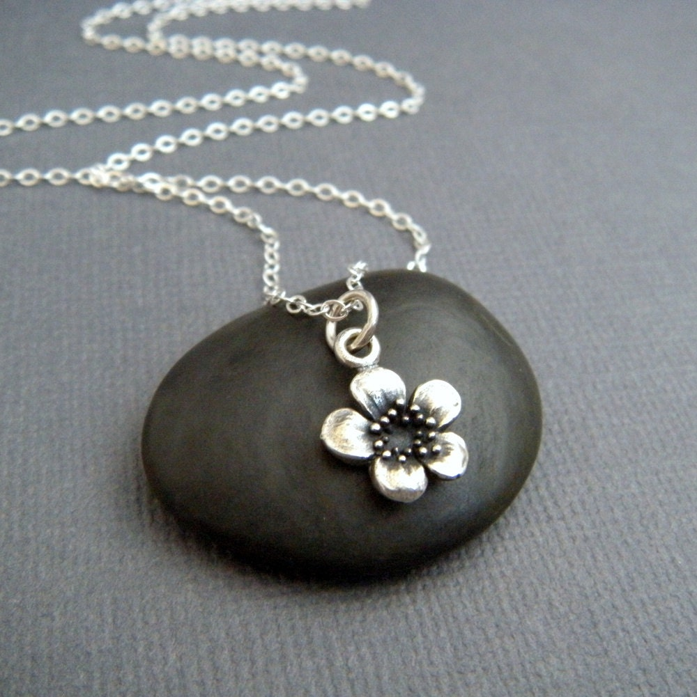 Tiny silver plum flower necklace small simple pendant for Gemsprouts tiny plant jewelry