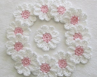 Small Crochet Flowers, White, Baby Pink, Embellishments, Appliques-  set of 12