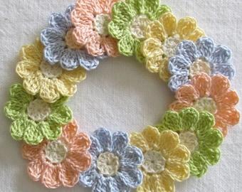 Pastel Crochet Flower Appliques - set of 12, handmade, craft supplies, embellishments