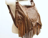 Tan leather fringe purse Bohemian backpack and messenger Bucket bag