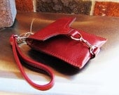 Red leather wristlet, small leather case, phone case, credit cards wallet  - READY TO SHIP